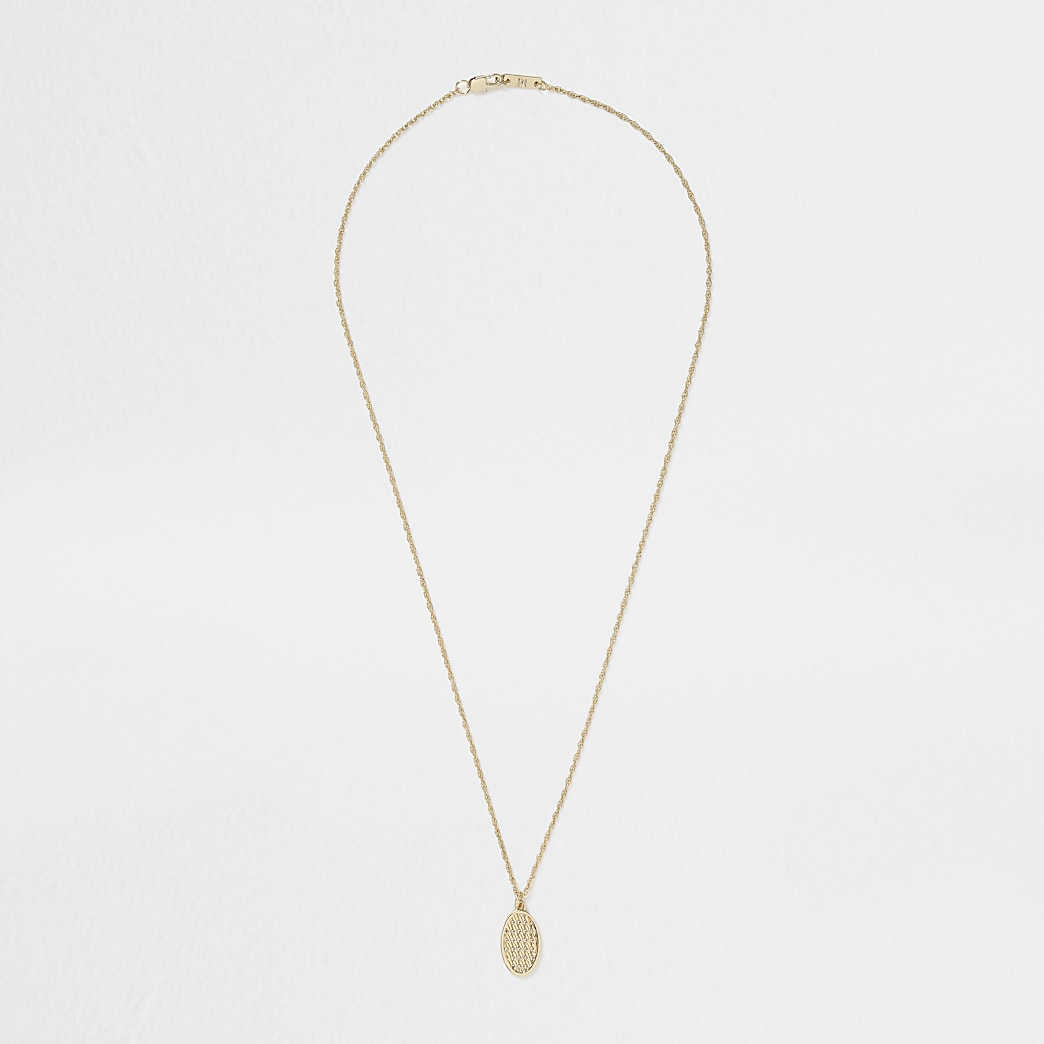 Gold colour weaved dogtag necklace