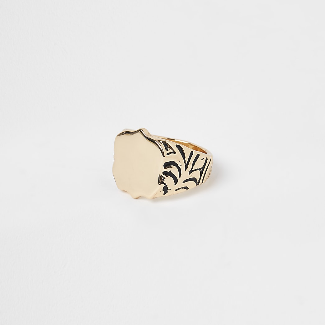 Gold colour western signet ring