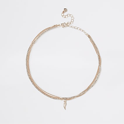 Gold colour wing choker necklace