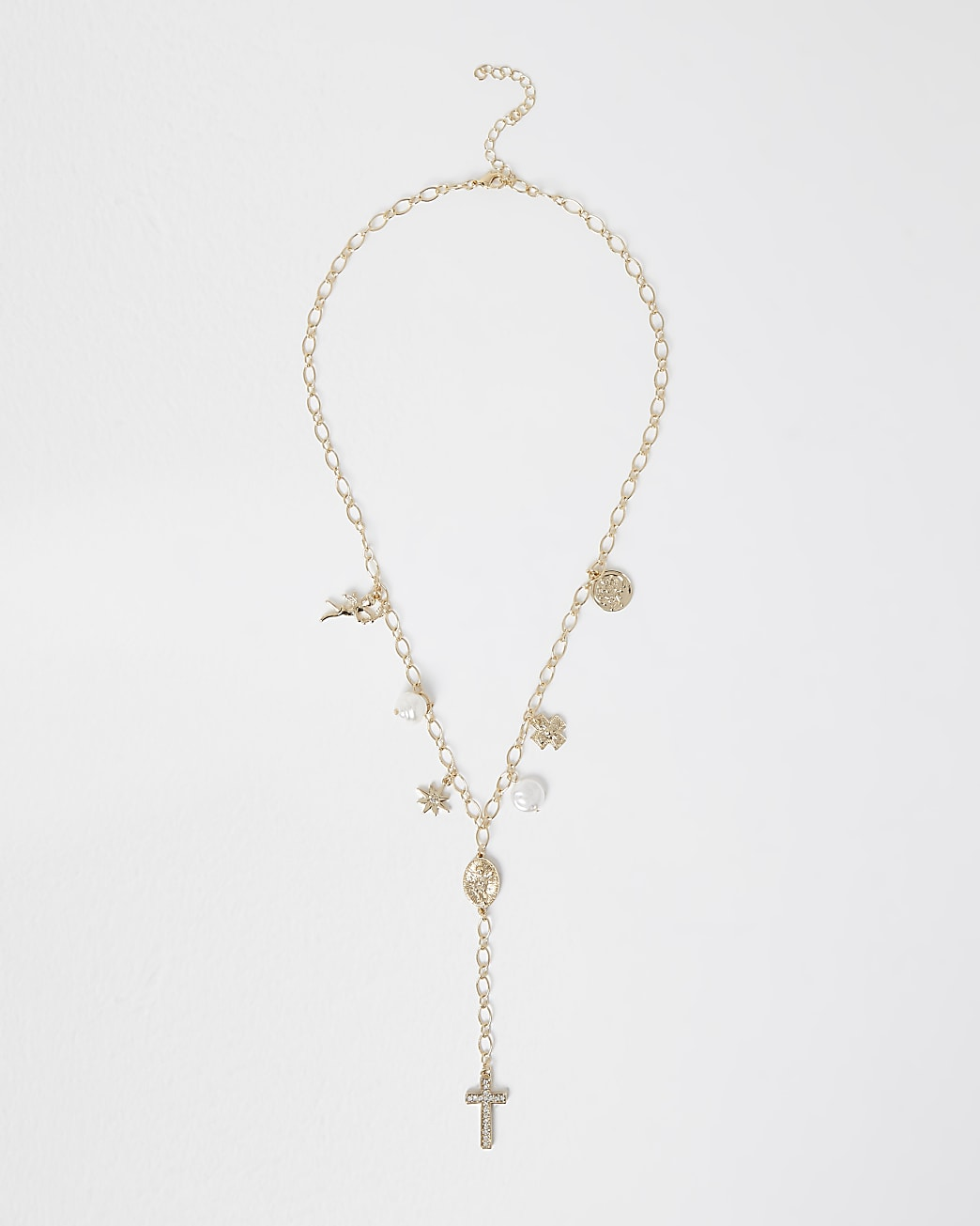 Gold Cross charm chain necklace