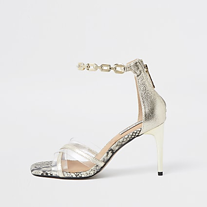 Gold crossover perspex high heel