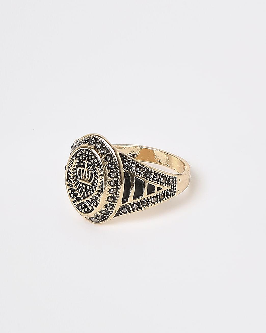 Gold crown diamante signet ring
