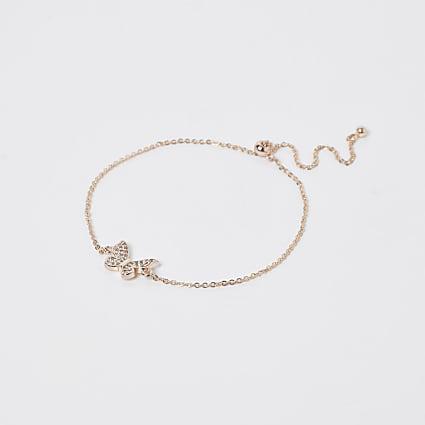 Gold crystal butterfly bracelet