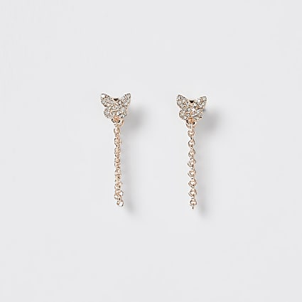 Gold crystal butterfly chain earrings