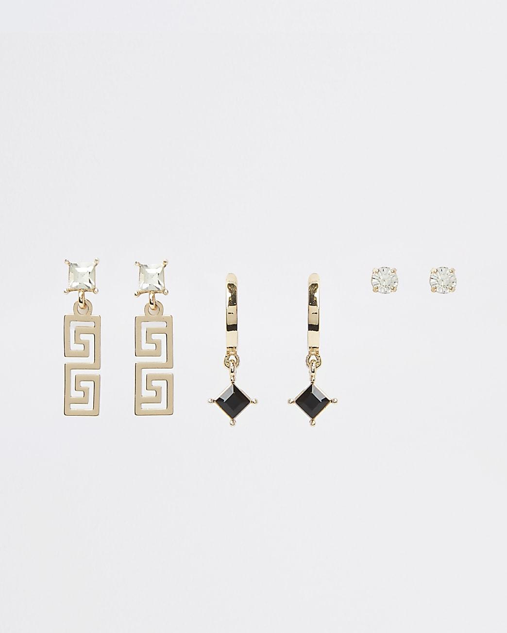 Gold crystal earrings multipack