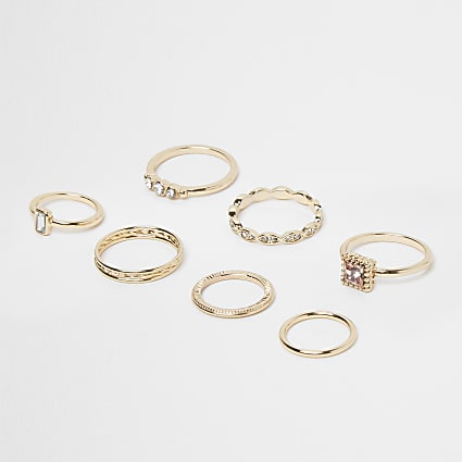Gold crystal stacking ring pack