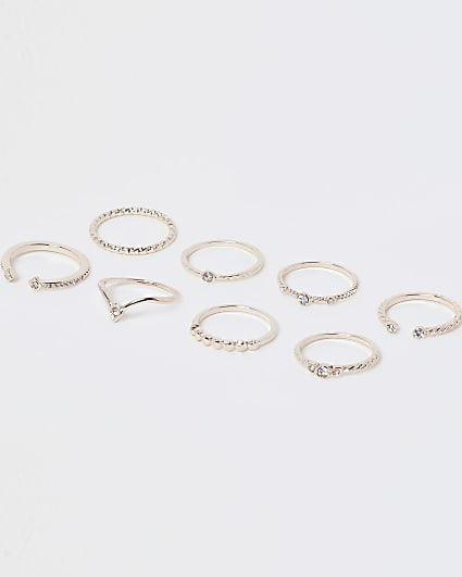 Gold crystal stacking rings multipack