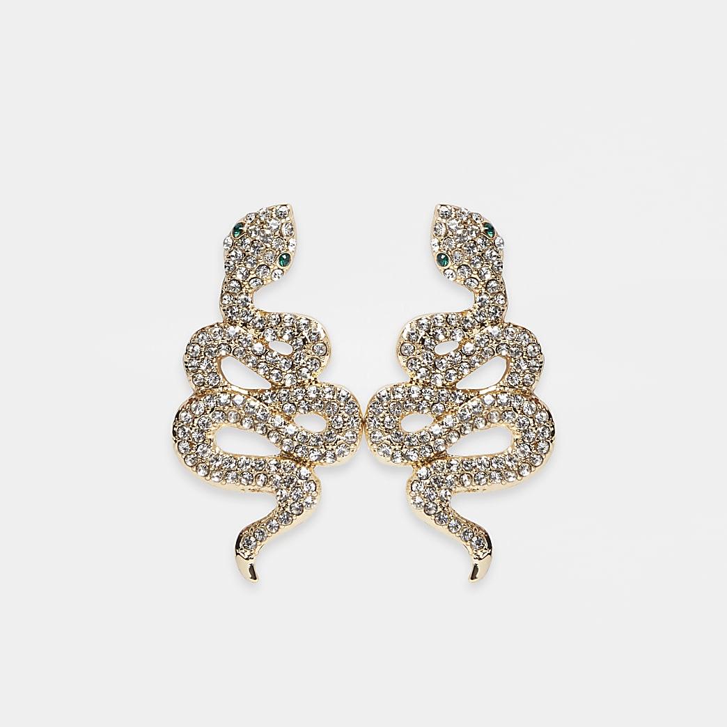 Gold crystal statement snake stud earrings