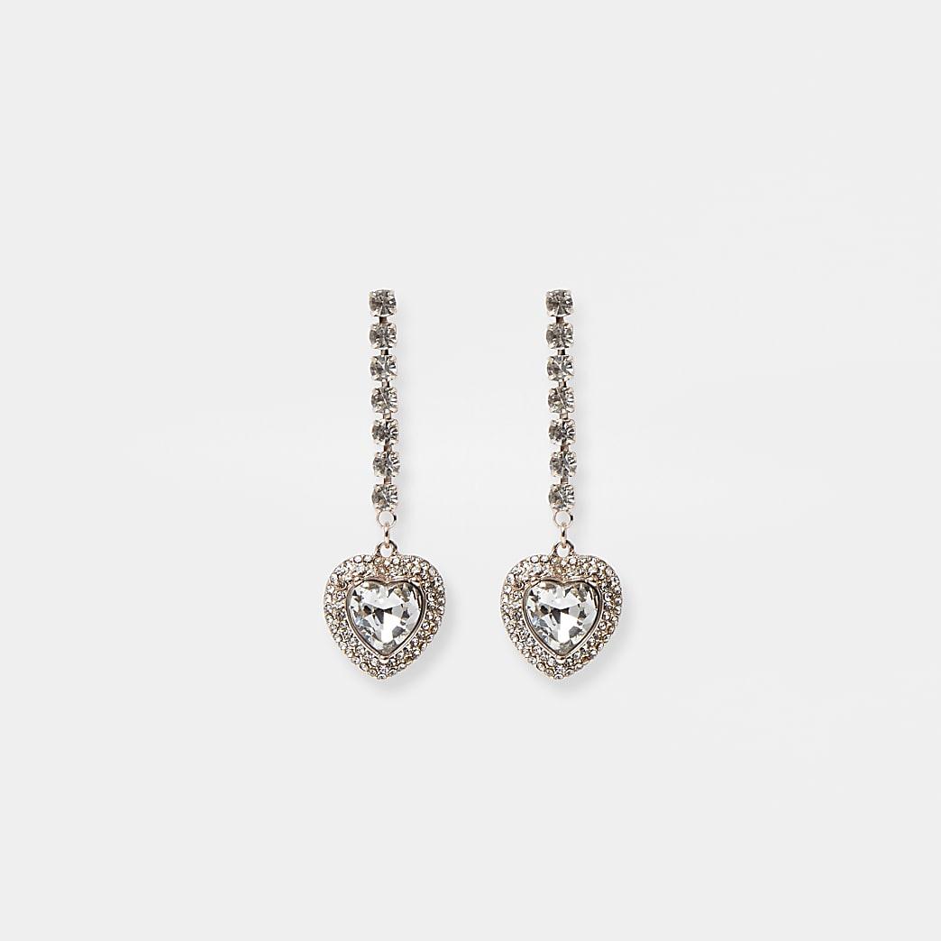 Gold crystal stick heart drop earrings