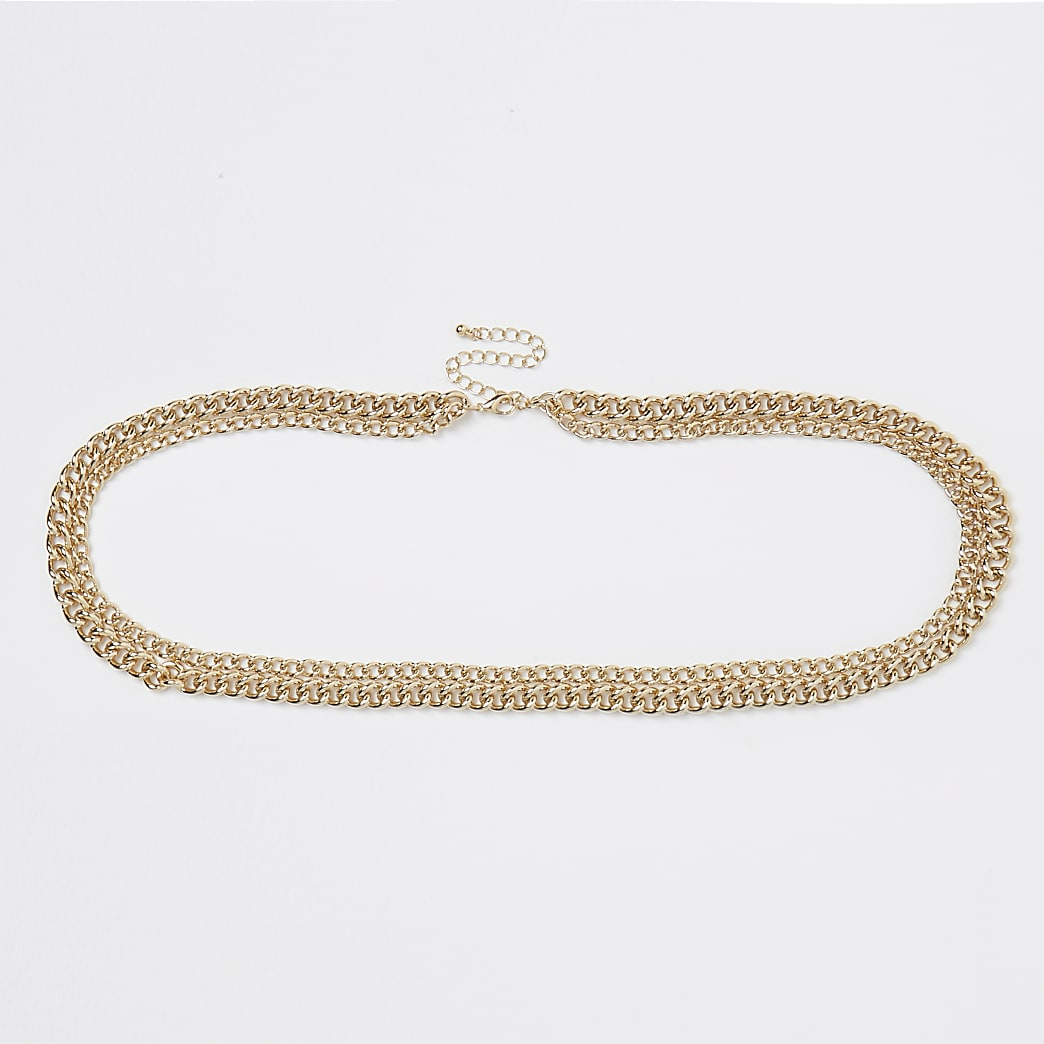 Gold curb belly chain