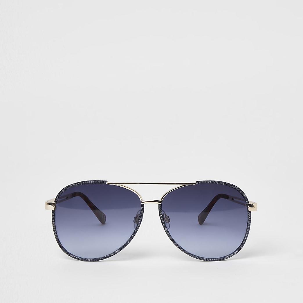 Gold denim wrapped sunglasses