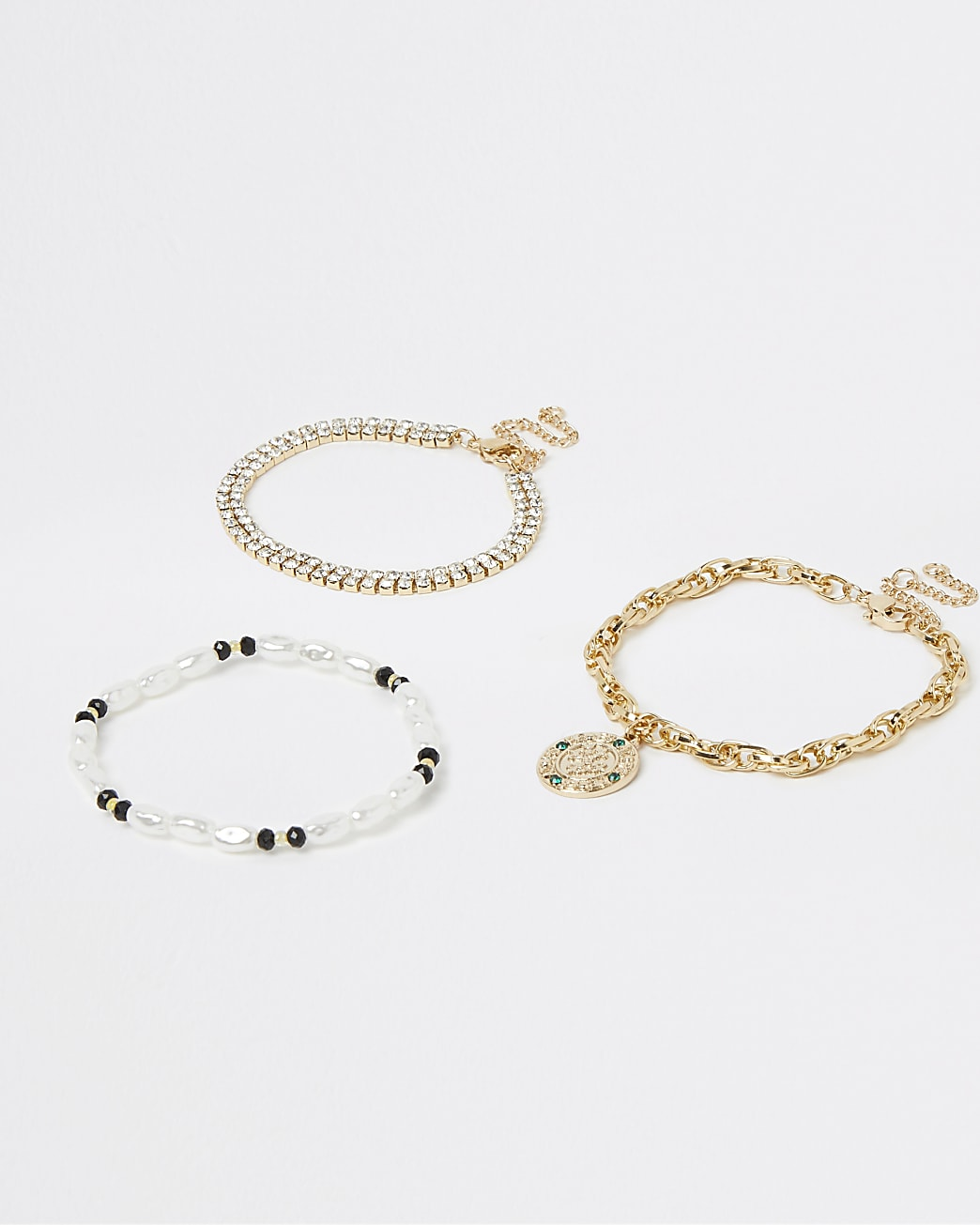 Gold diamante and pearl bracelets multipack
