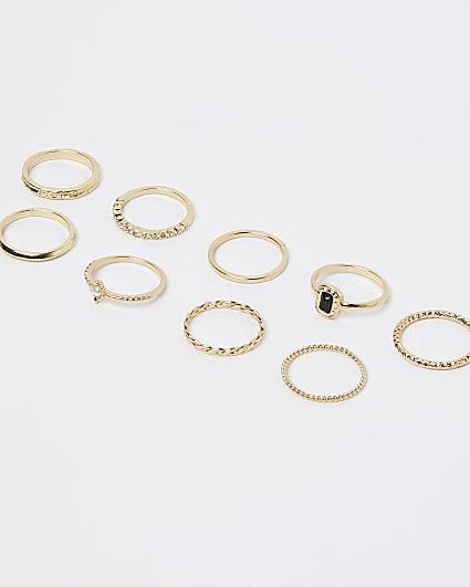 Gold diamante and pearl rings multipack