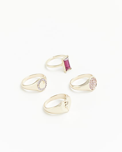 Gold diamante and stone rings multipack