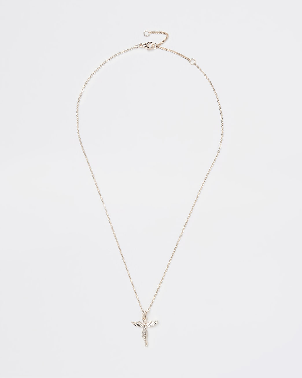 Gold diamante angel pendant necklace