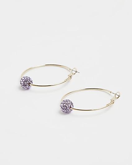 Gold diamante ball hoop earrings