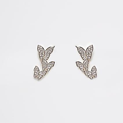 Gold diamante butterfly ear climber earrings