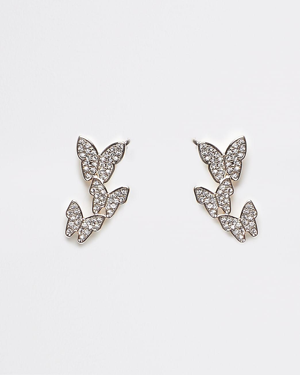 Gold diamante butterfly earrings