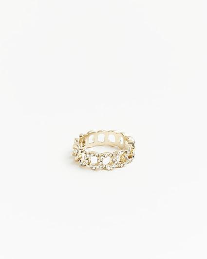 Gold diamante chain chain ring
