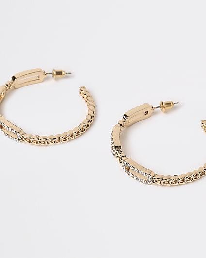 Gold diamante chain link hoop earrings