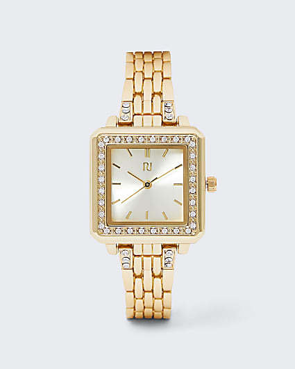 Gold diamante chain link watch