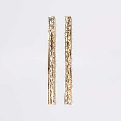 Gold diamante chain long tassel earrings