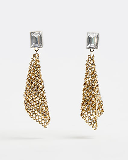 Gold diamante chainmail drop earrings