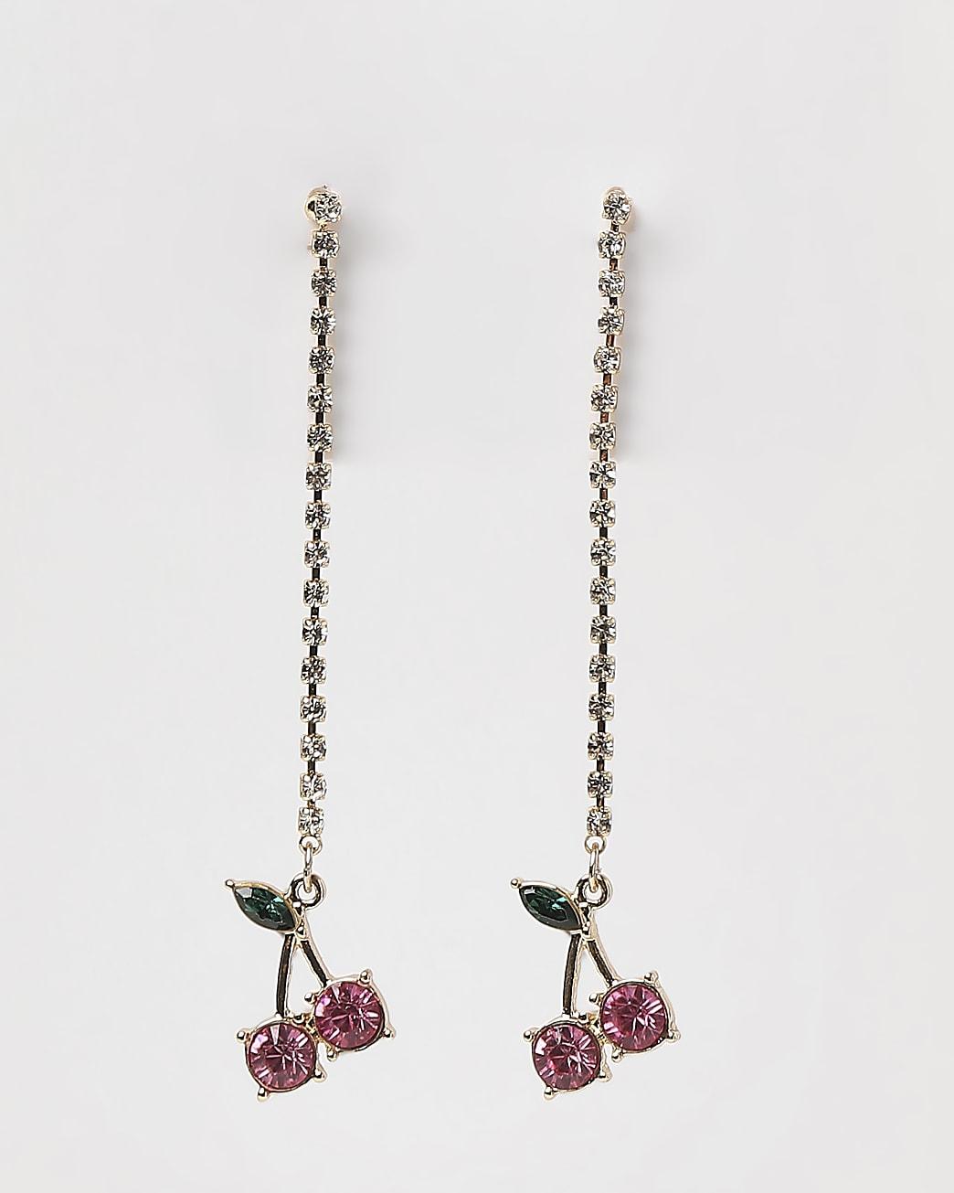 Gold diamante cherry drop earrings