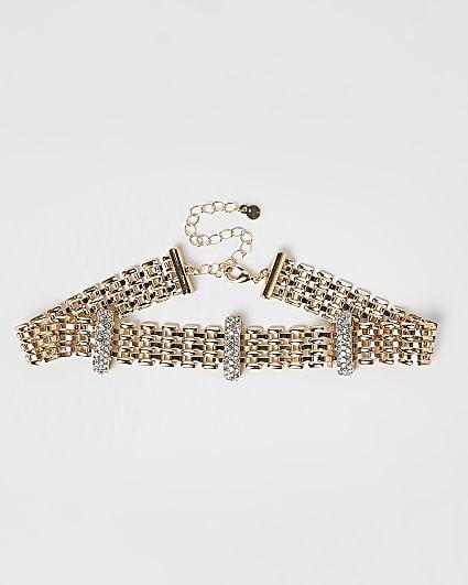 Gold diamante choker
