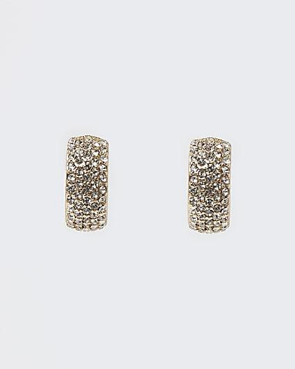 Gold diamante chunky hoop earrings