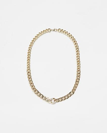 Gold diamante detail chain necklace