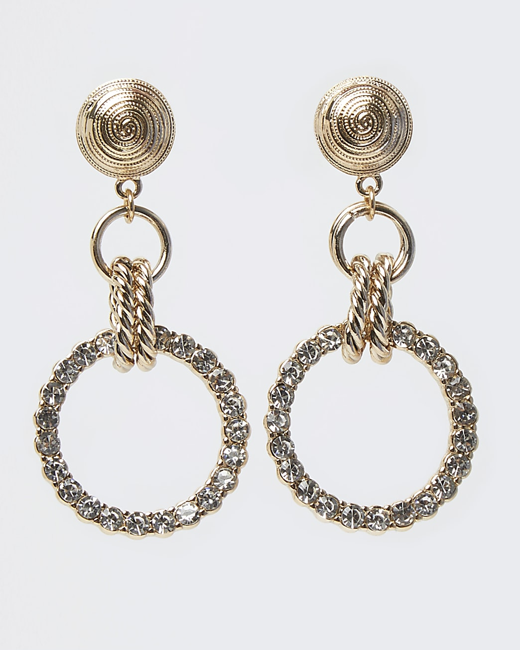 Gold diamante drop earrings