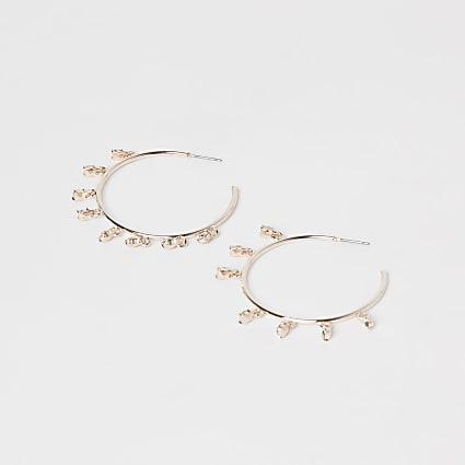 Gold diamante drops hoop earrings