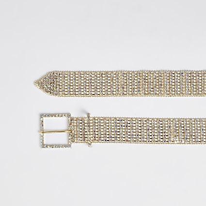 Gold diamante embellished belt