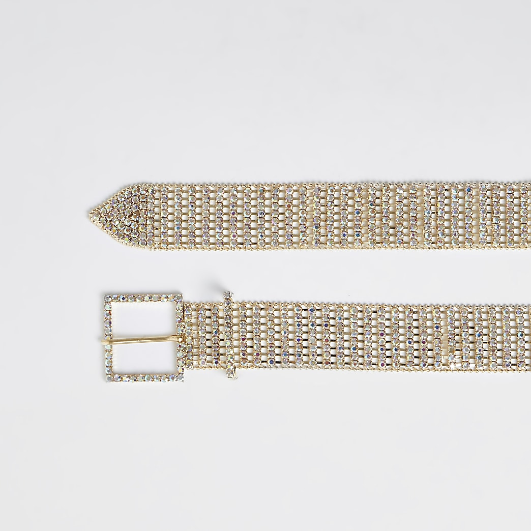 Gold diamante embellished belt