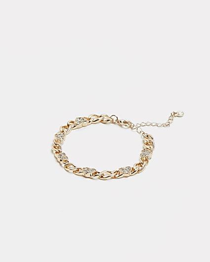 Gold diamante heart chain link bracelet