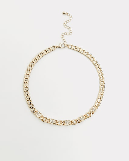 Gold diamante heart chain link necklace