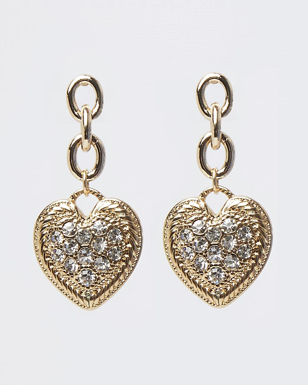 Gold diamante heart drop earrings