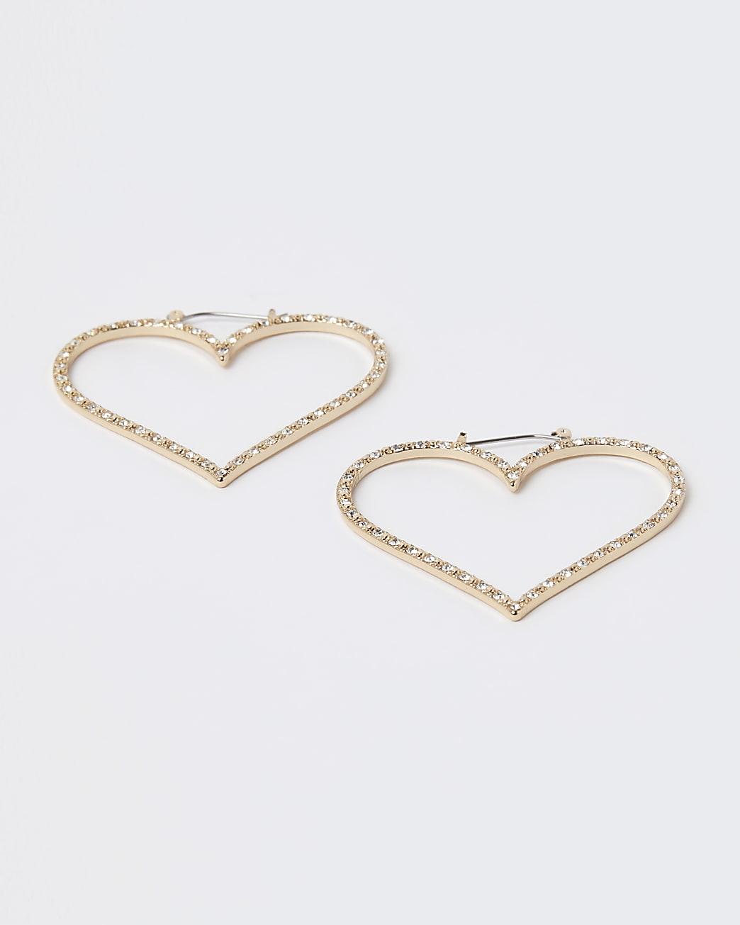Gold diamante heart hoop earrings