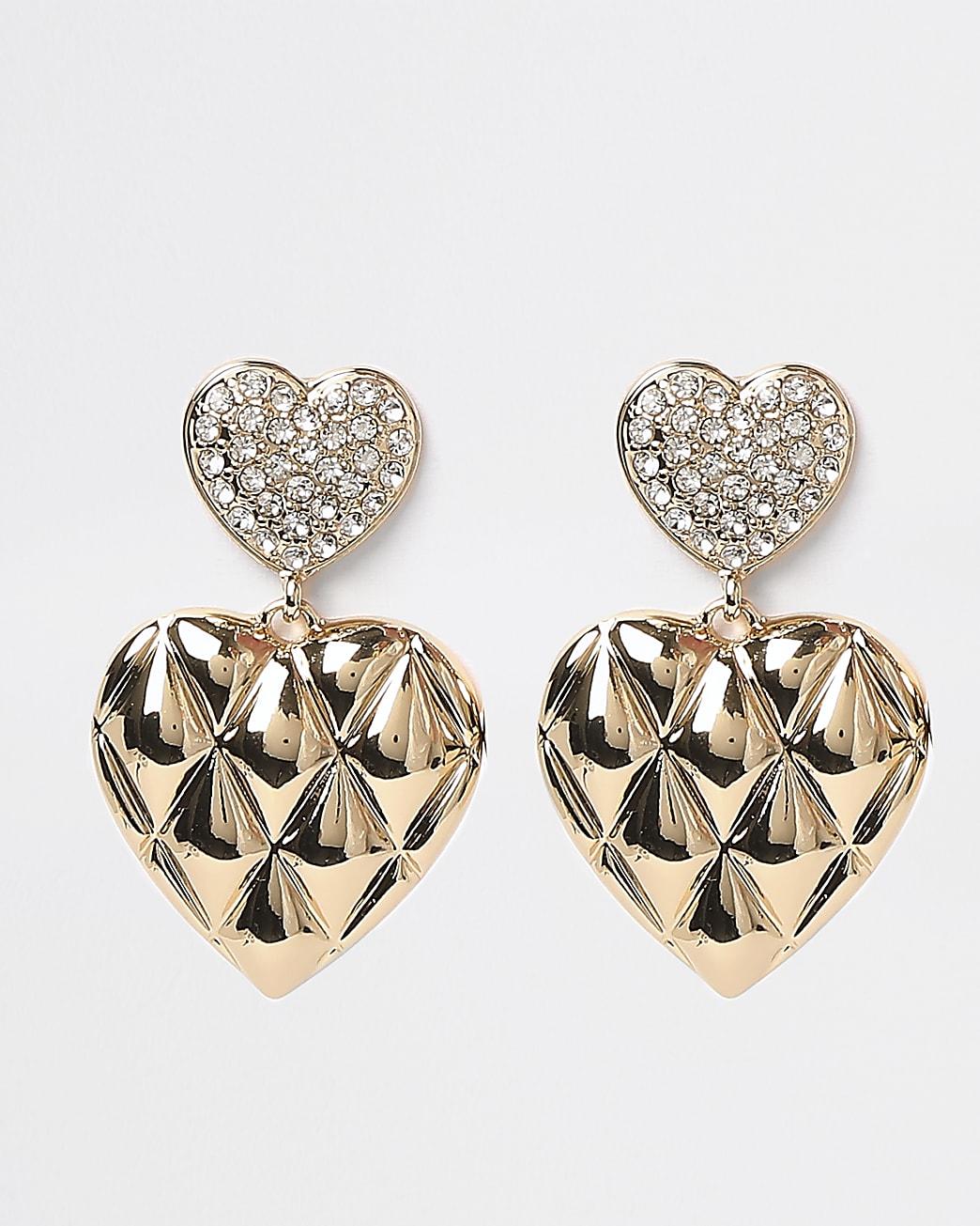 Gold diamante heart pendant drop earrings