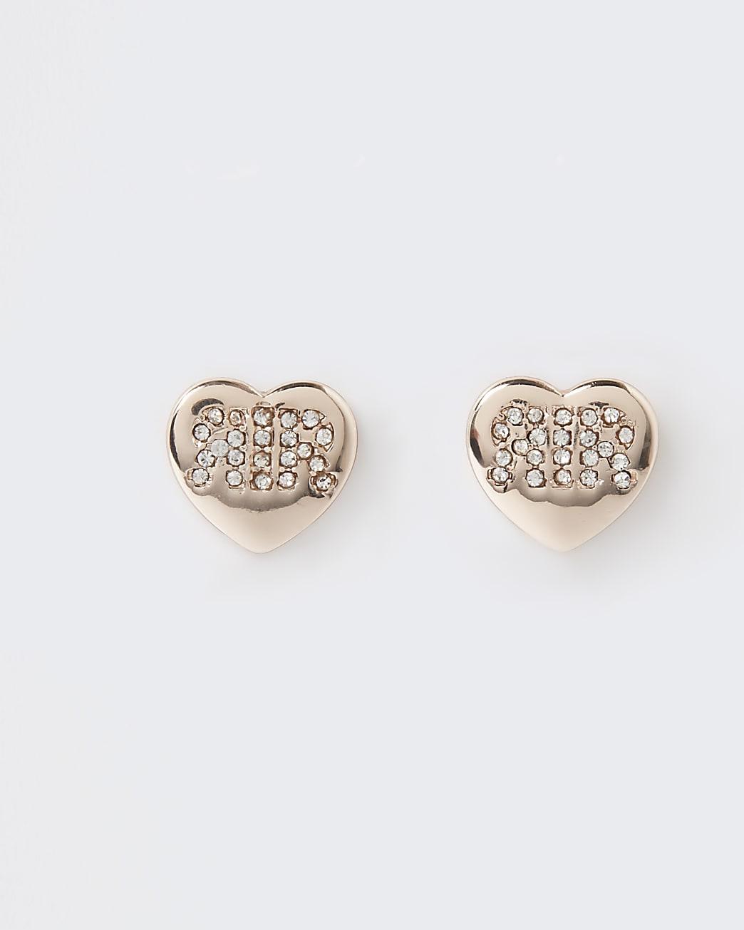 Gold diamante heart stud earrings