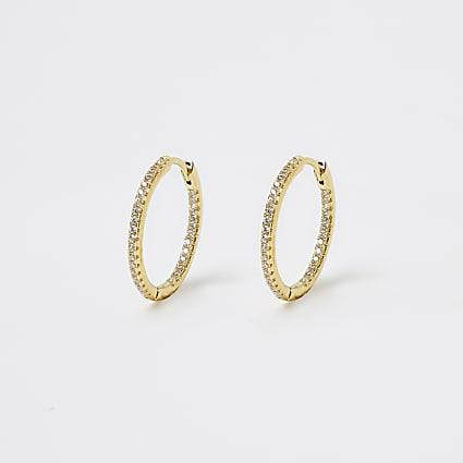 Gold diamante hoop earings