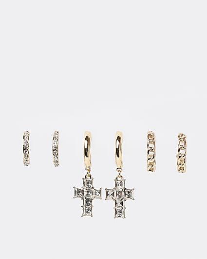 Gold diamante hoop earrings multipack
