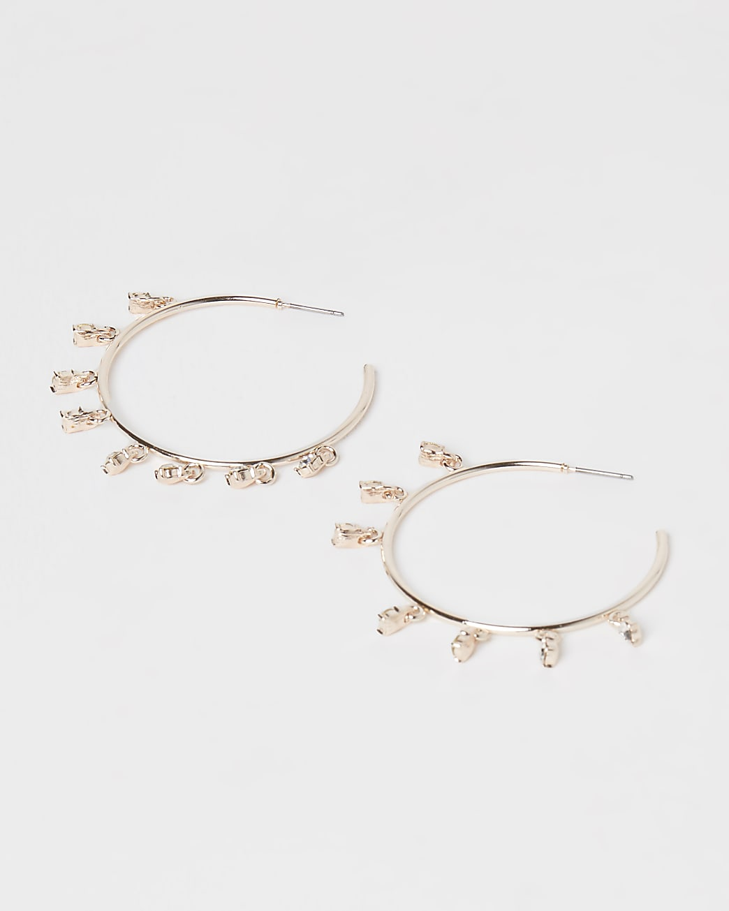 Gold diamante hoop earrings