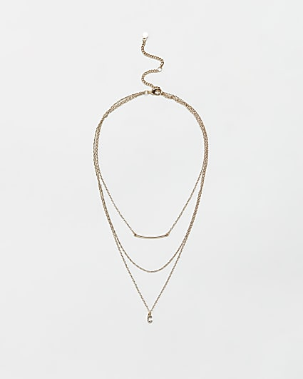 Gold diamante letter 'C' multirow necklace