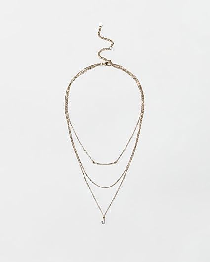 Gold diamante letter 'J' multirow necklace