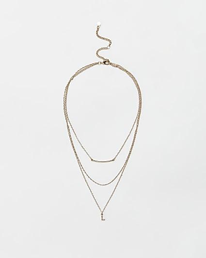 Gold diamante letter 'L' multirow necklace
