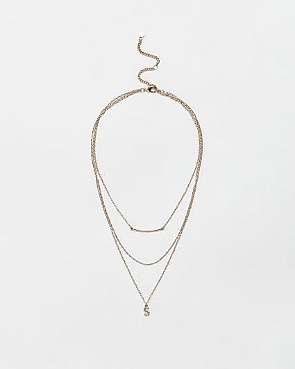 Gold diamante letter 'S' multirow necklace