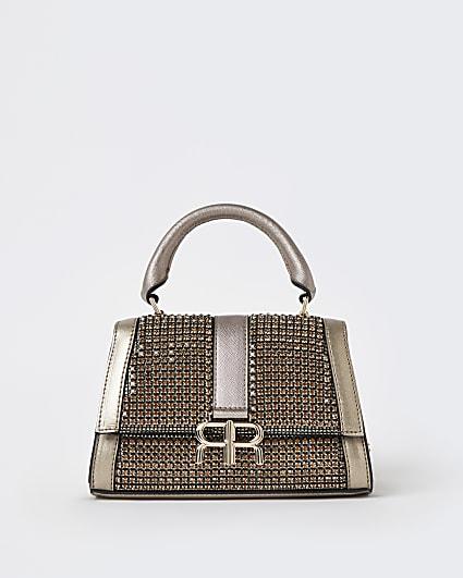 Gold diamante mini tote bag