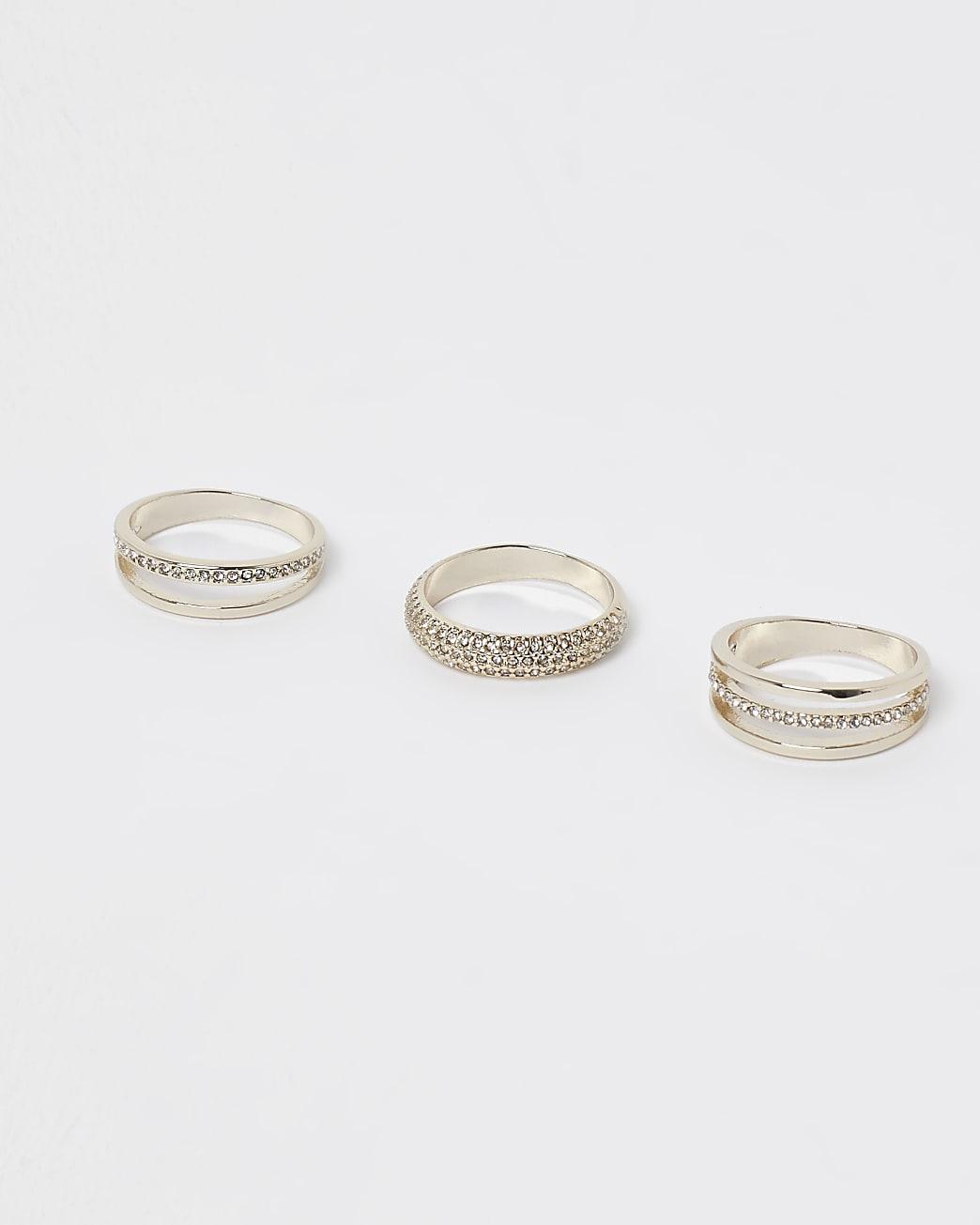 Gold diamante multiband rings multipack